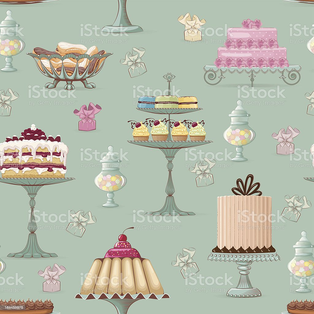 Sweet buffet background vector art illustration
