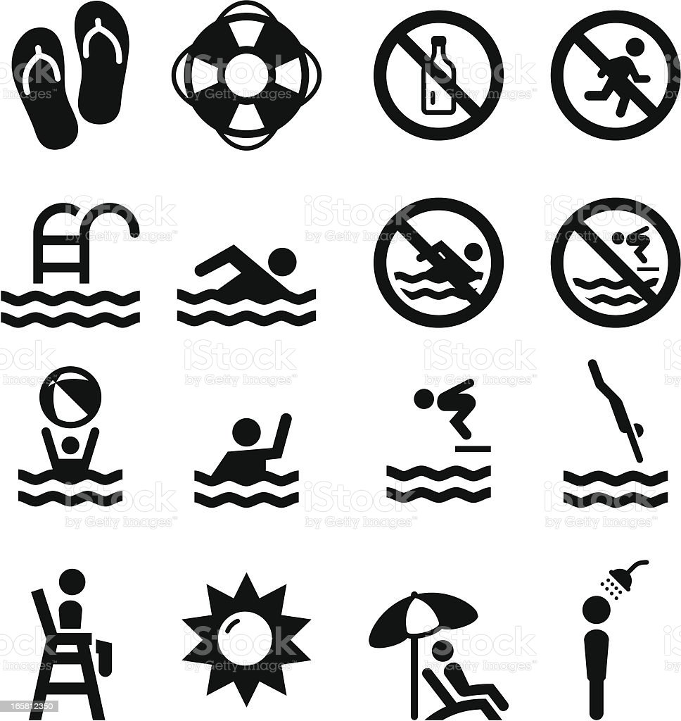 Swim Icons - Black Series vector art illustration