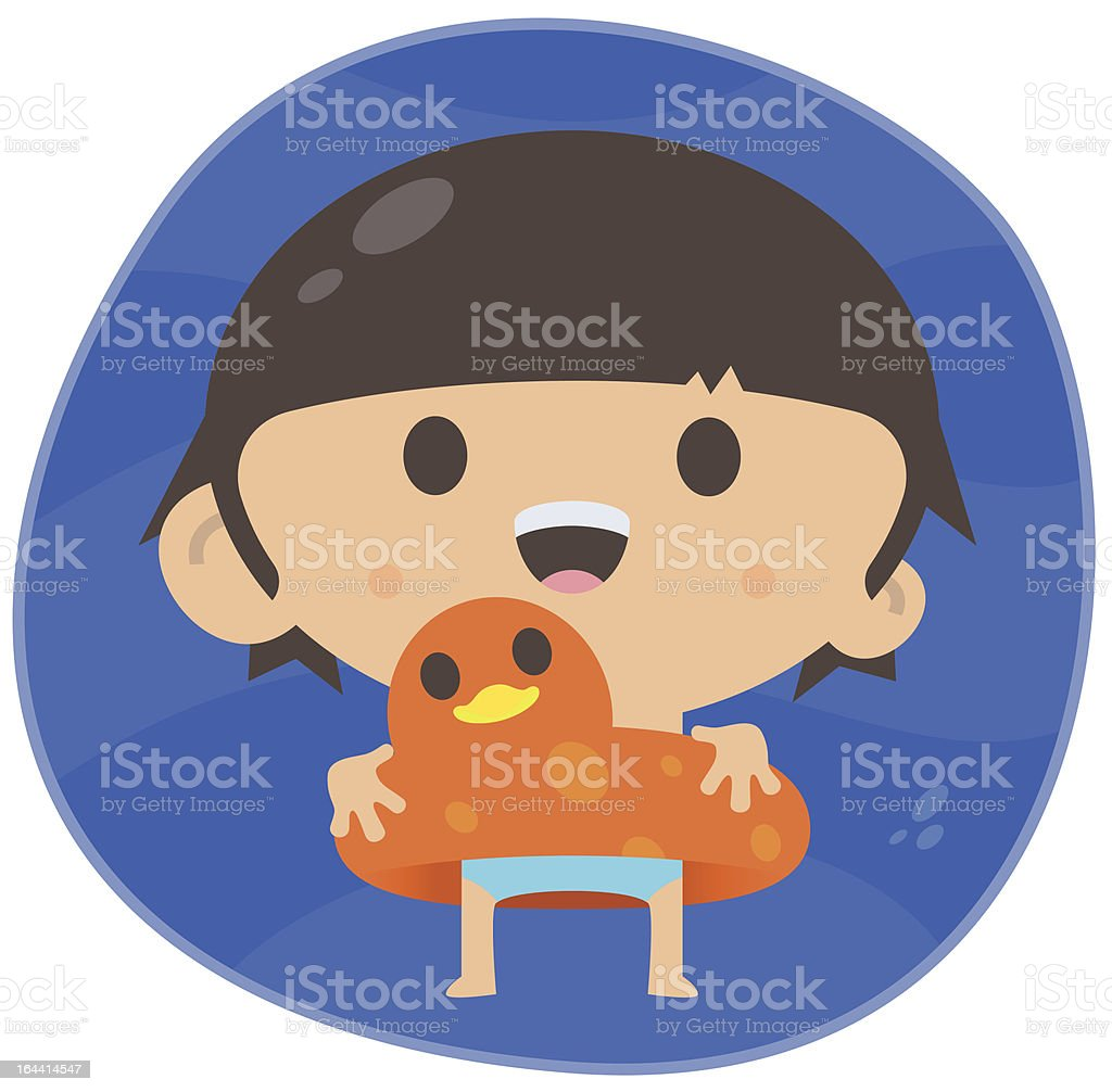 Swimming Boy with Rubber Duck vector art illustration