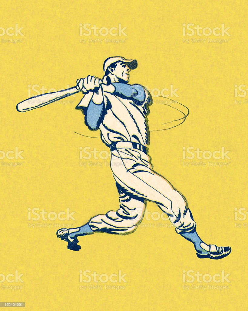 Swinging Baseball Player vector art illustration