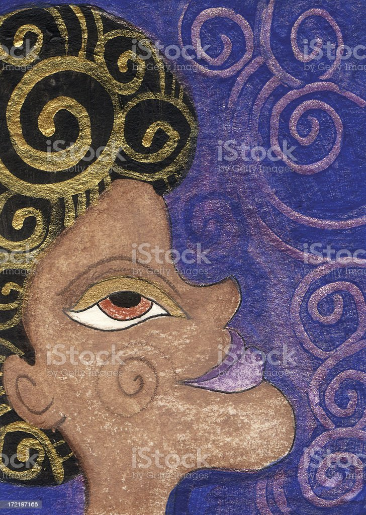 Swirly African American Woman royalty-free stock vector art