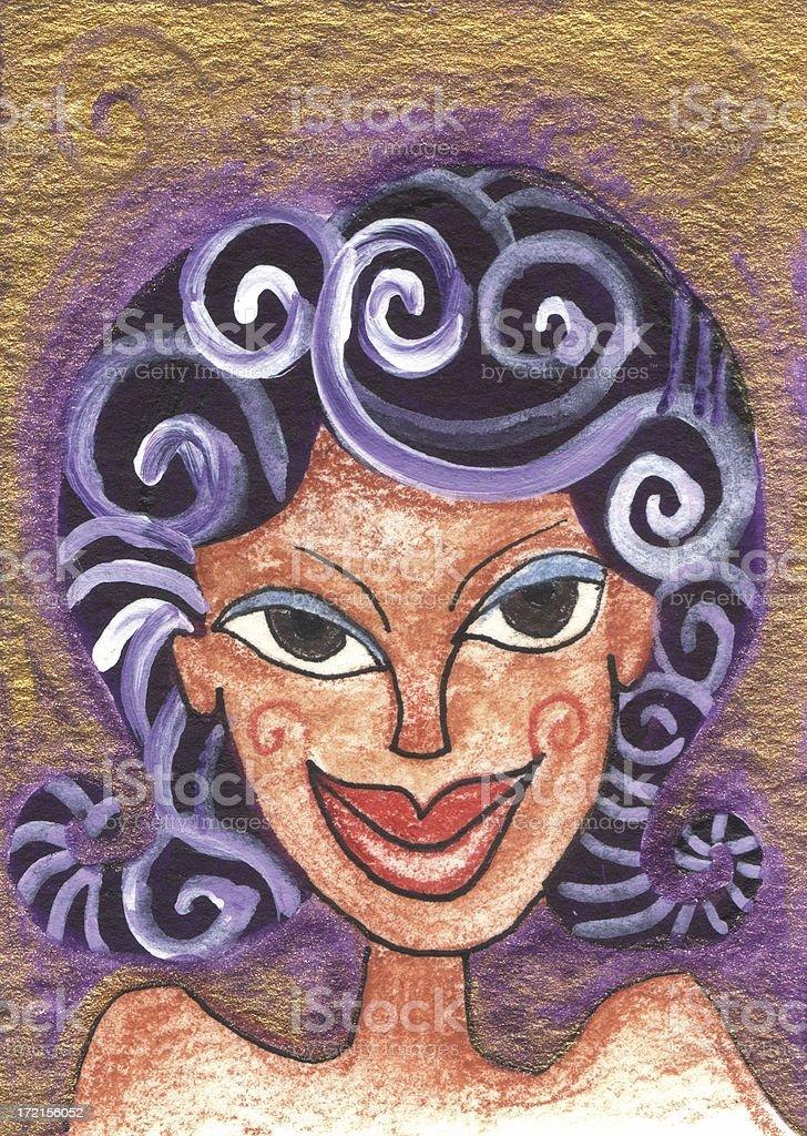 Swirly Hair Woman royalty-free stock vector art
