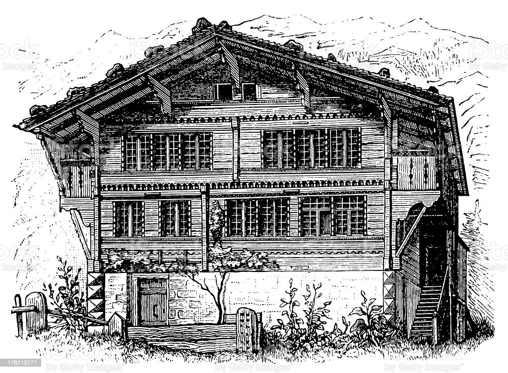Swiss cottage   Antique Architectural Illustrations royalty-free stock vector art