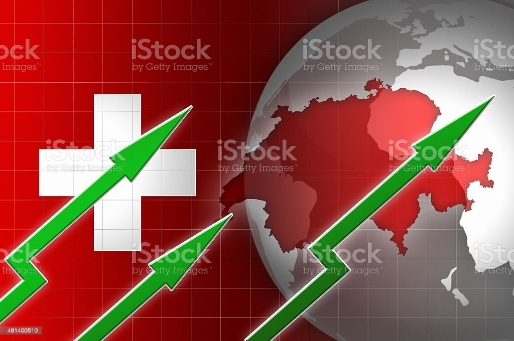 swiss economy currency growth illustration with green up arrow vector art illustration