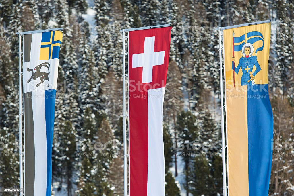 Swiss flag graubunden vector art illustration