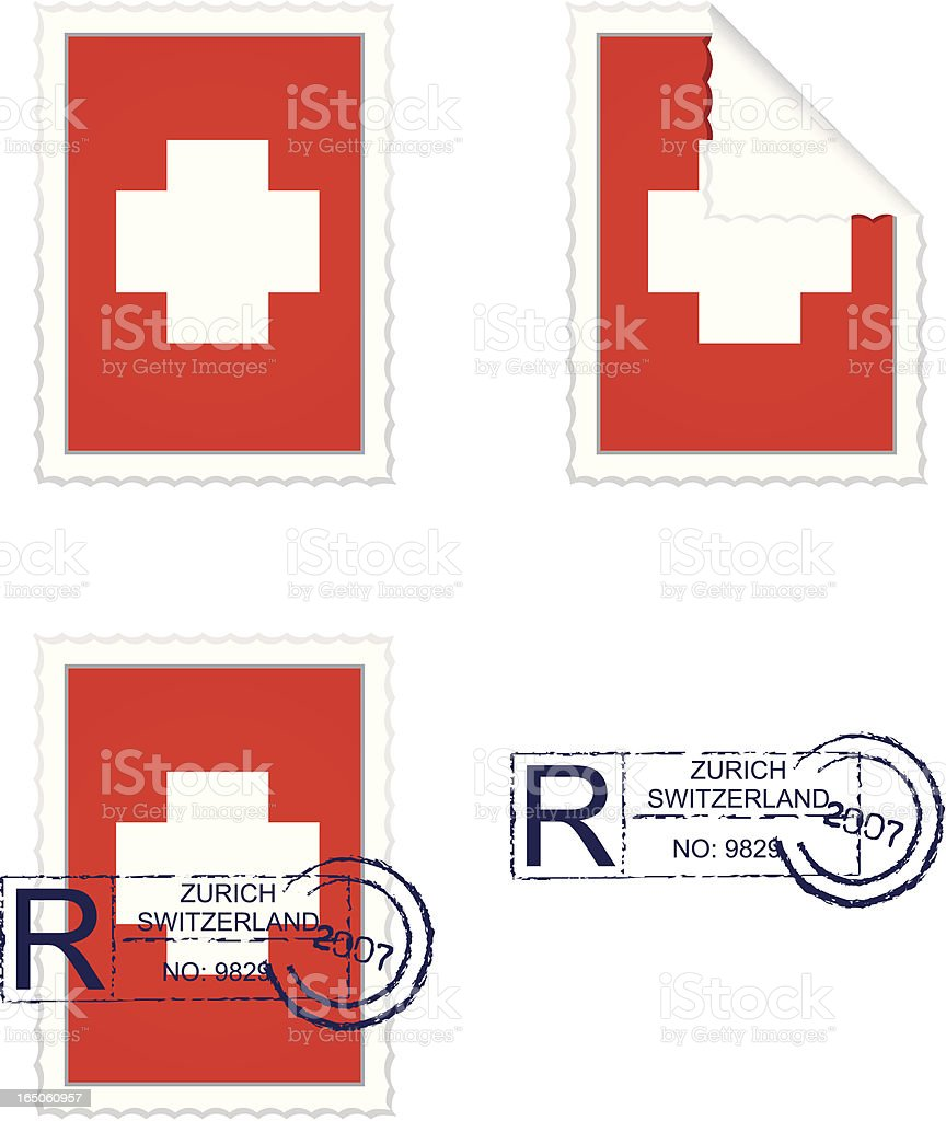 Swiss Flag Stamp Set royalty-free stock vector art