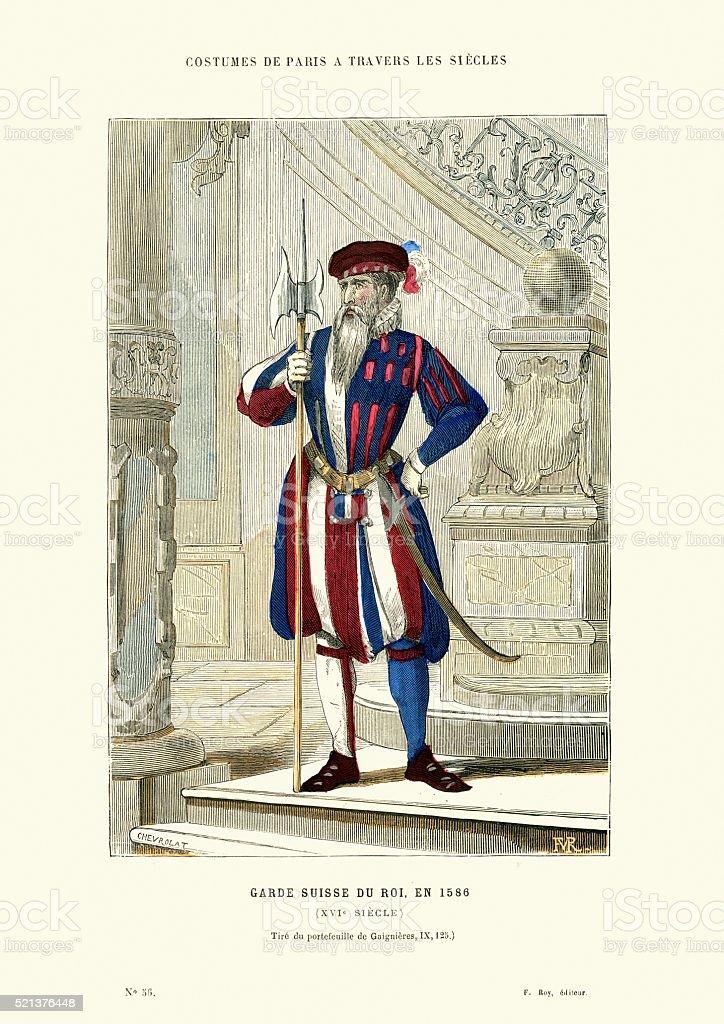 Swiss guard of the king, France, 16th Century vector art illustration