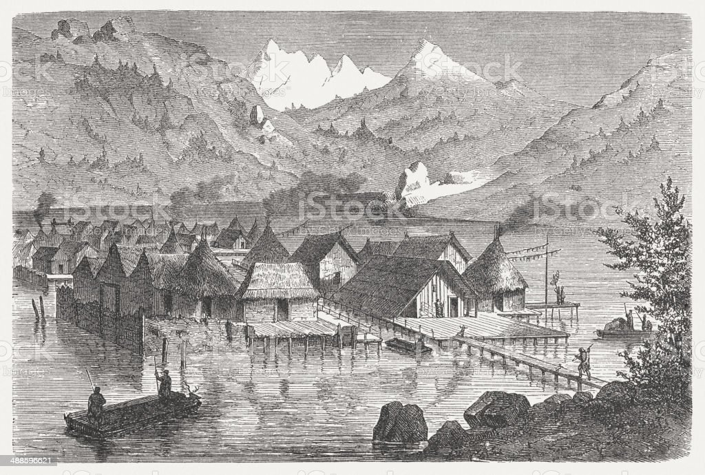 Swiss pile-dwelling village from the Bronze Age, published in 1876 vector art illustration