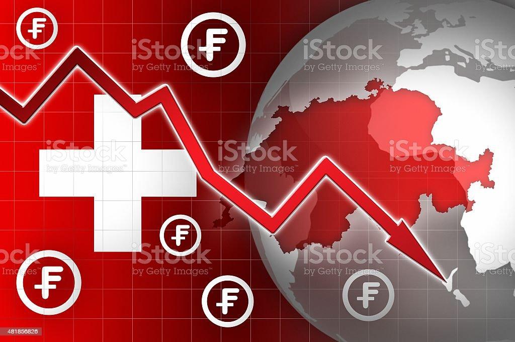 switzerland currency decline down news background vector art illustration