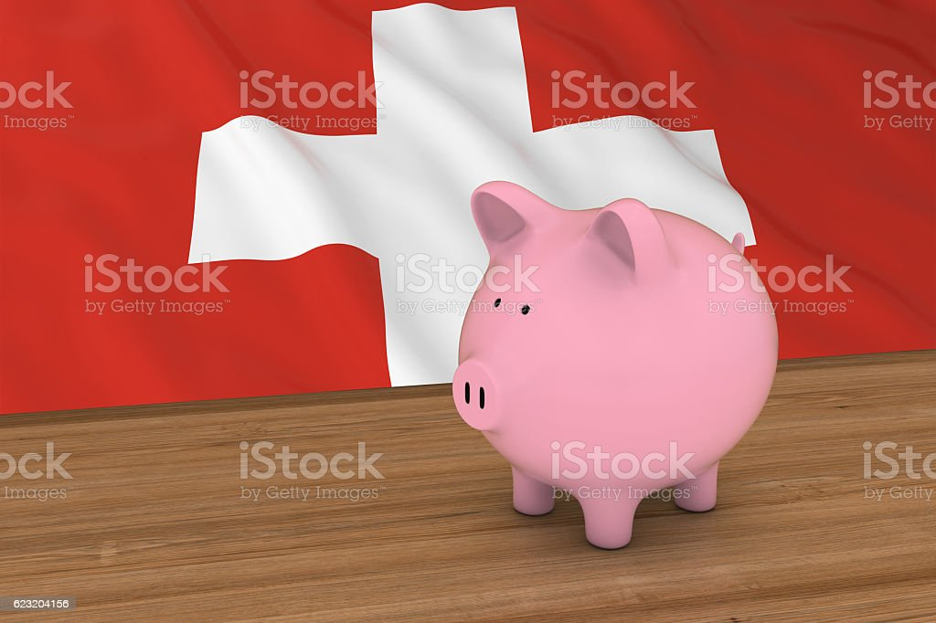 Switzerland Finance Concept - Piggybank in front of Swiss Flag vector art illustration