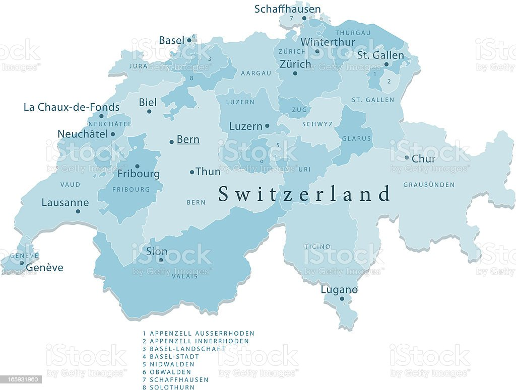 Switzerland Vector Map Regions Isolated royalty-free stock vector art