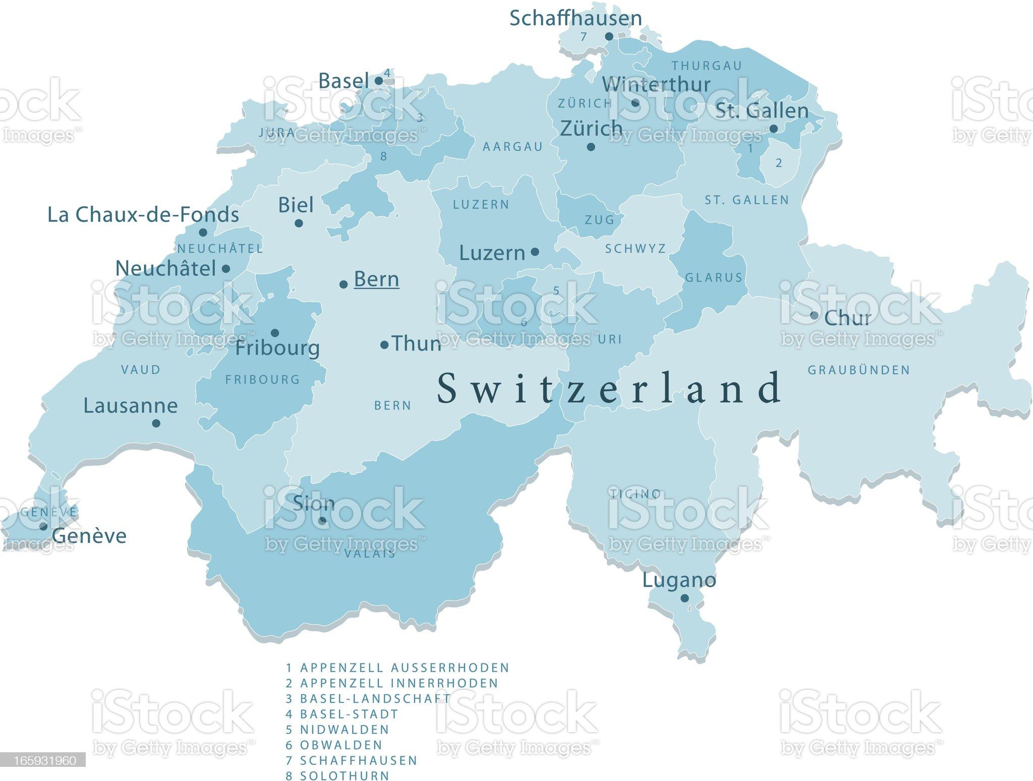 Switzerland Vector Map Regions Isolated royalty-free stock vector art