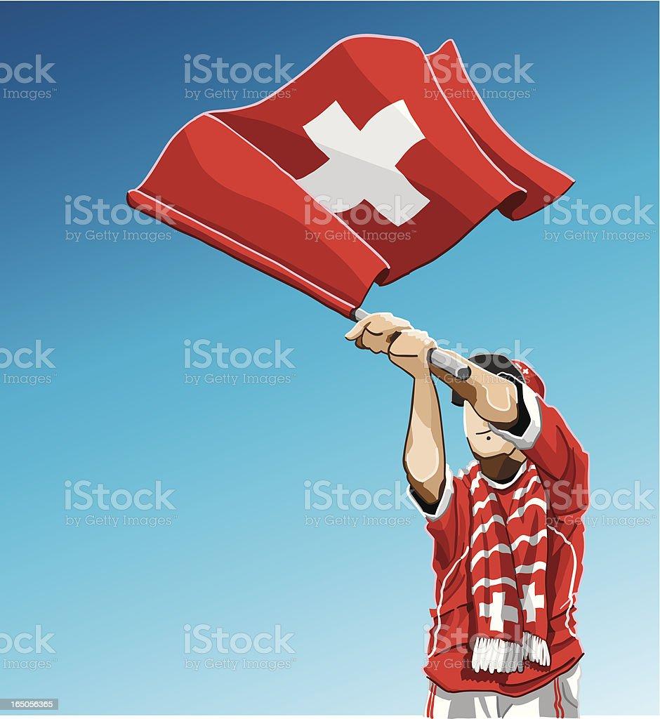 Switzerland Waving Flag Soccer Fan royalty-free stock vector art
