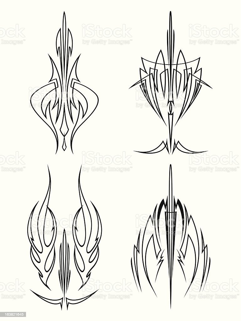 Sword Brush Pinstriping Designs vector art illustration