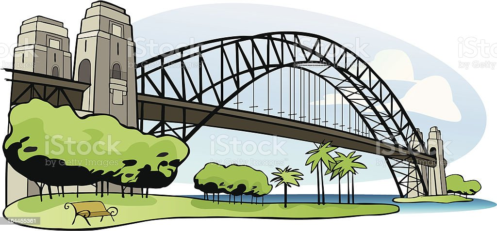 Sydney Harbor bridge vector art illustration