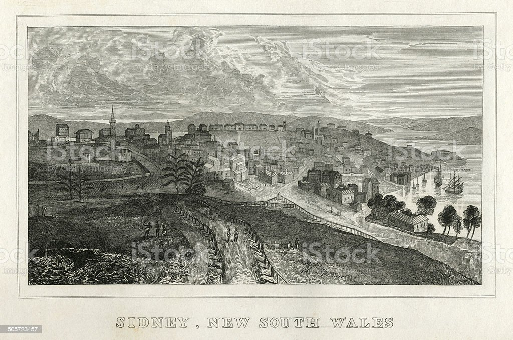Sydney, New South Wales (early 19th century engraving) vector art illustration