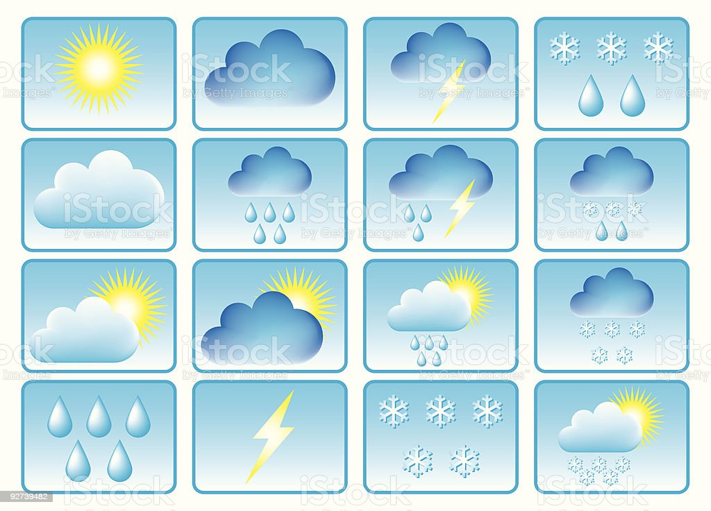 Symbols for the indication of weather. royalty-free stock vector art
