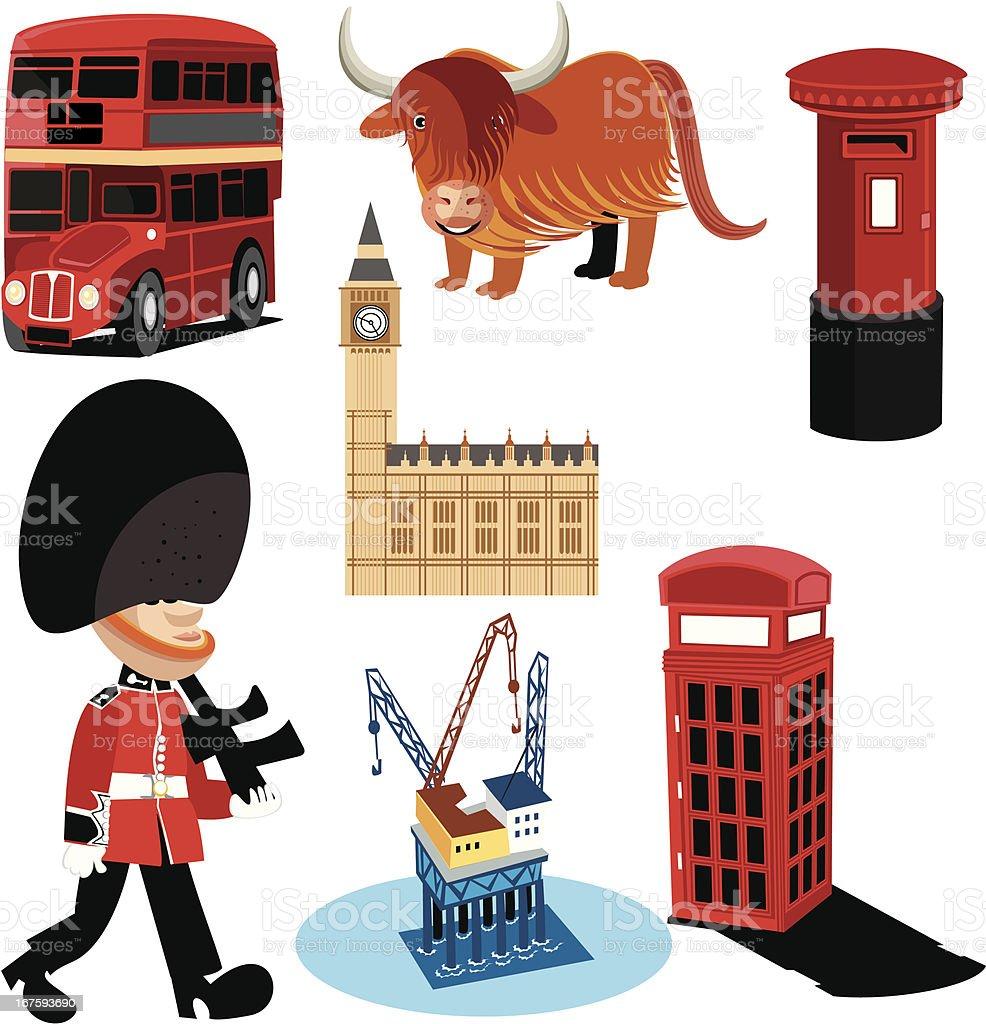 UK symbols royalty-free stock vector art
