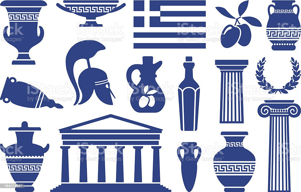 Symbols of Greece vector art illustration