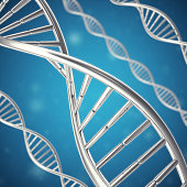 Synthetic, artificial DNA molecule, the concept of  intelligence. 3d rendering