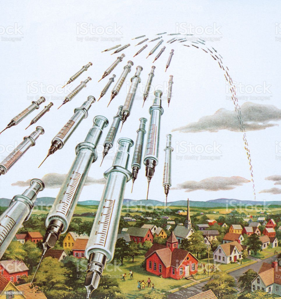 Syringes Flying Through the Air vector art illustration