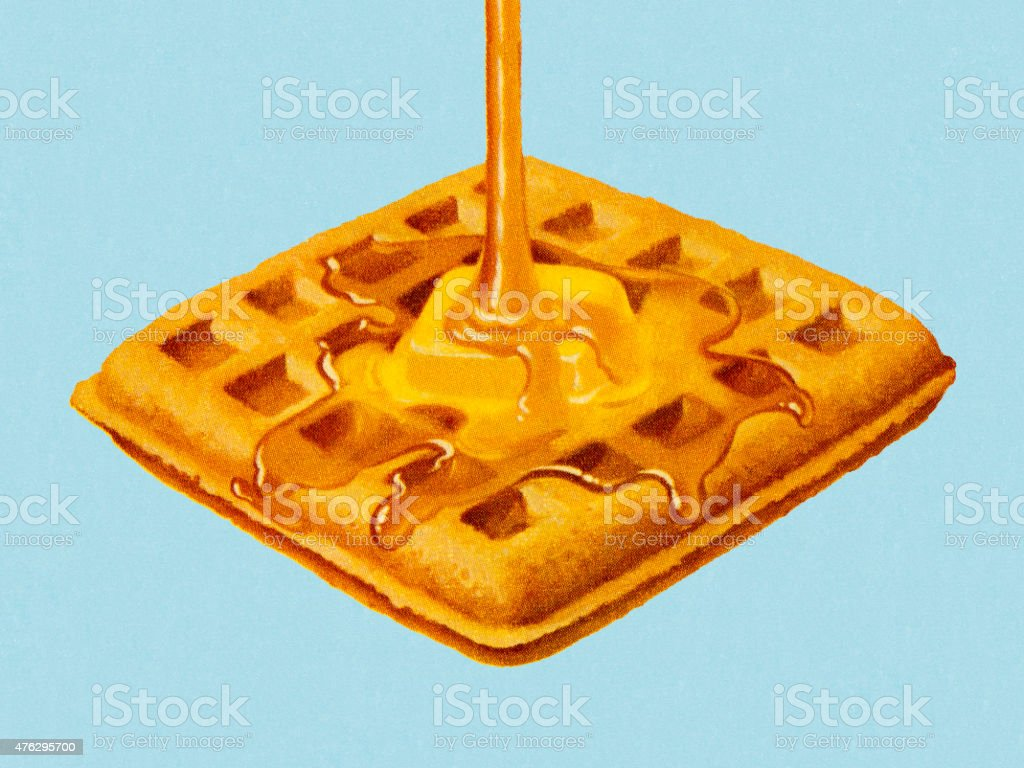 Syrup Being Poured on Waffle vector art illustration