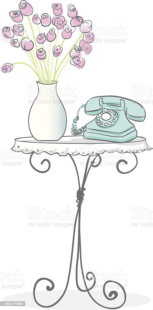 Table and Telephone vector art illustration