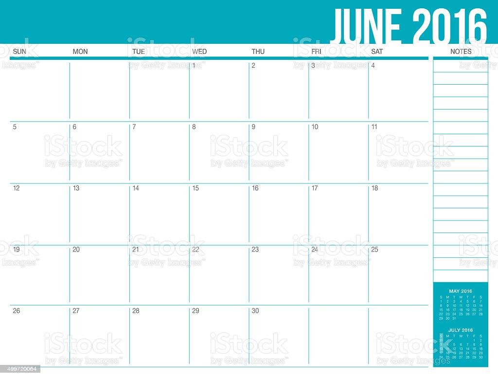 table calendar- June 2016 vector art illustration