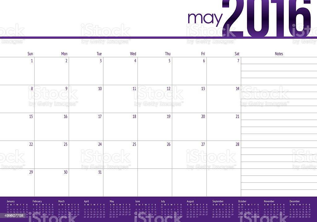 table calendar- May 2016 vector art illustration