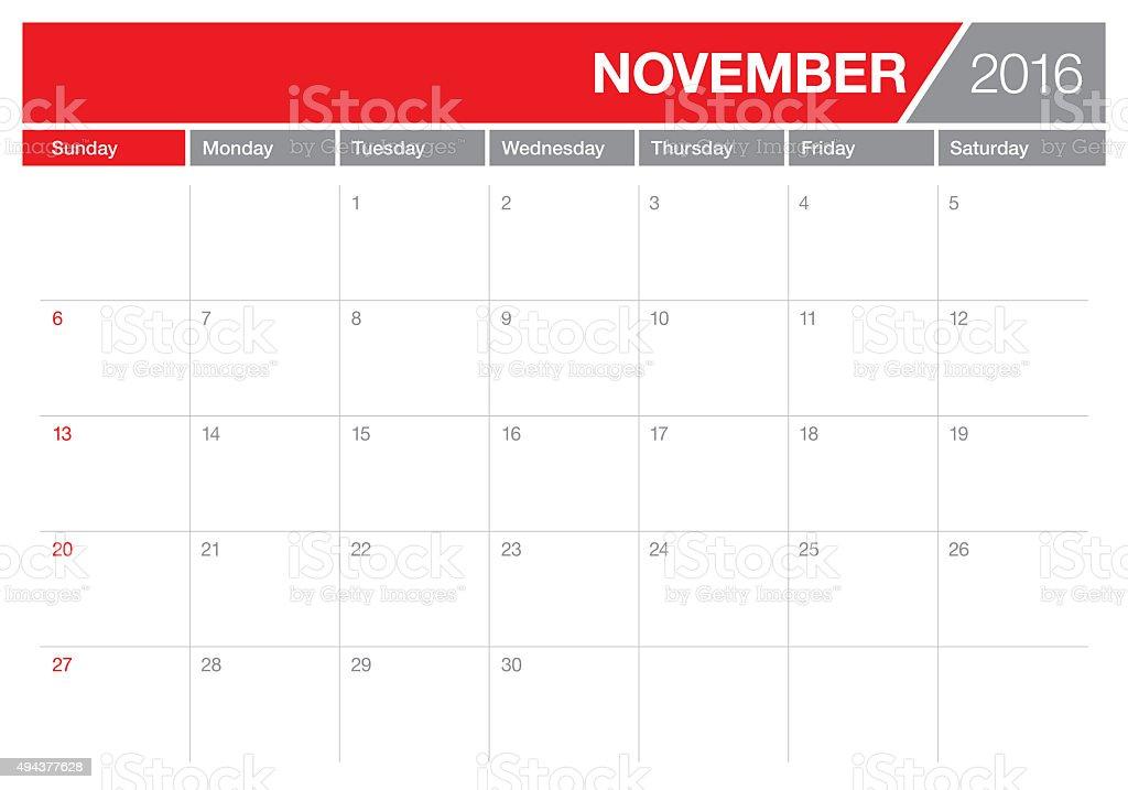 table calendar- November 2016 vector art illustration