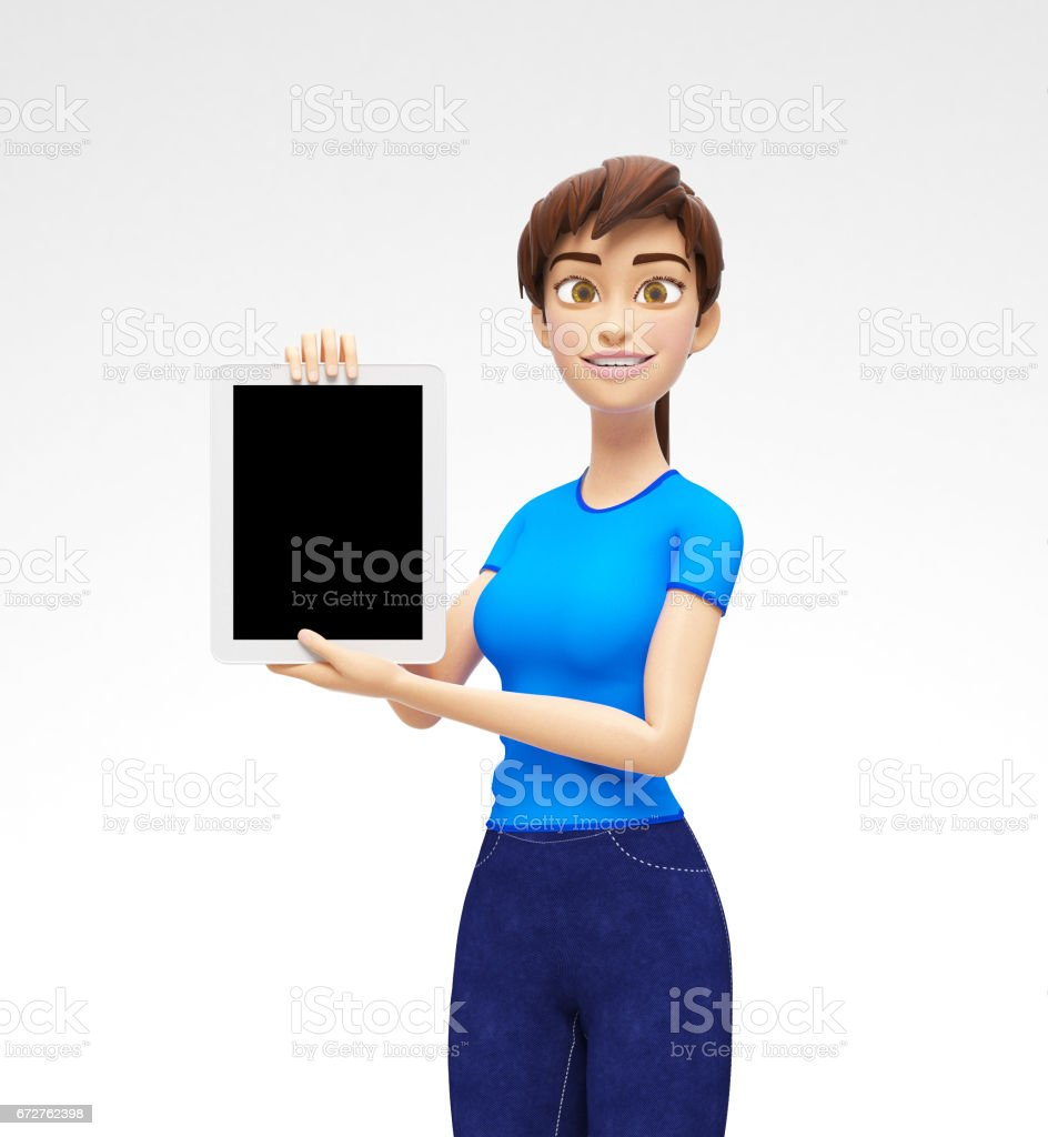 Tablet Device Mockup With Blank Screen Held by Smiling and Happy Jenny - 3D Cartoon Female Character in Casual Clothes vector art illustration