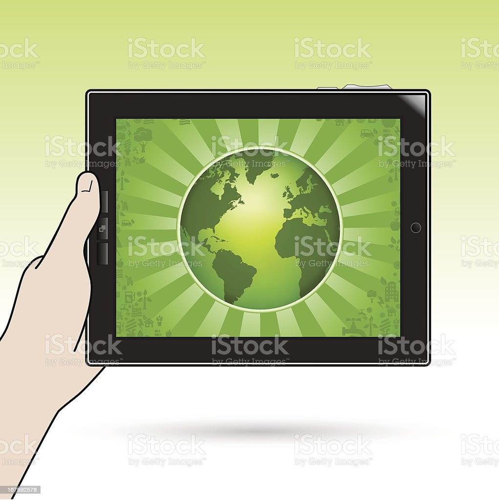 Tablet PC with ecology globe holding royalty-free stock vector art