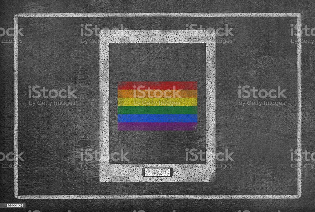 Tablet PC with Gay pride flag vector art illustration