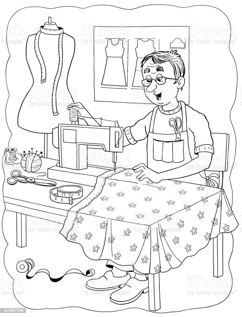 a tailor professions illustration for children coloring page funny