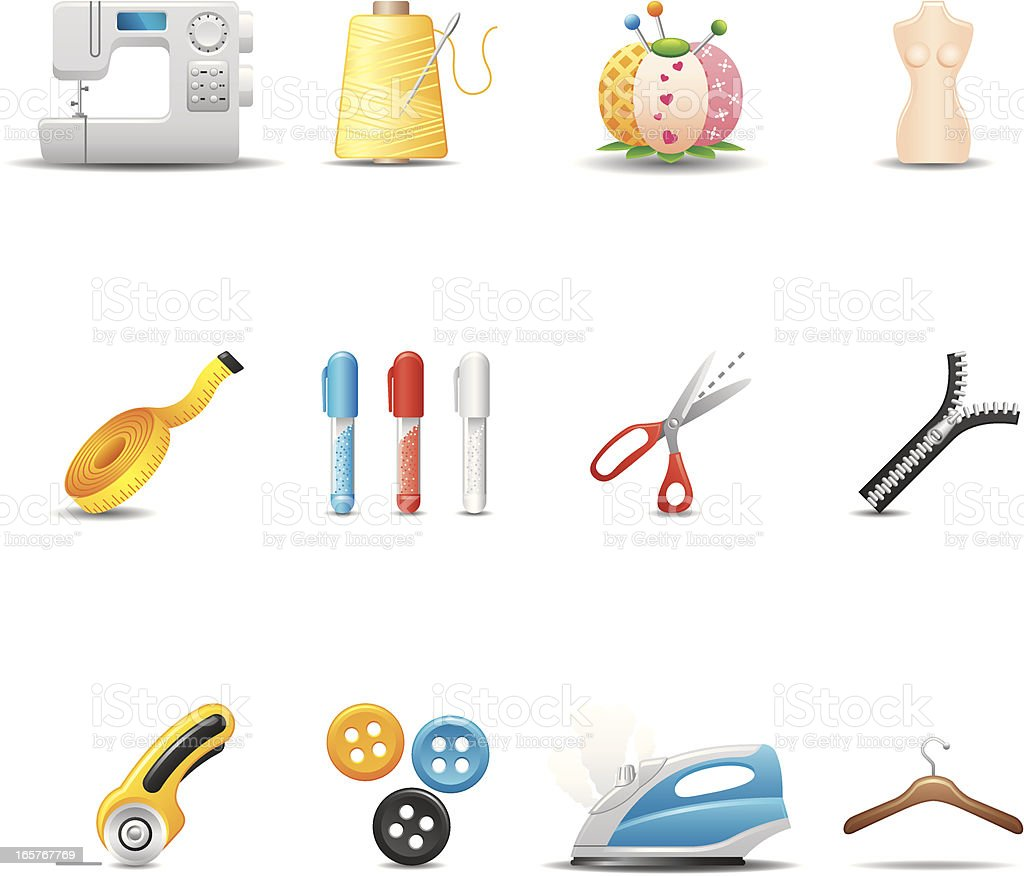 Tailor & Sewing Icon Set | Elegant Series royalty-free stock vector art