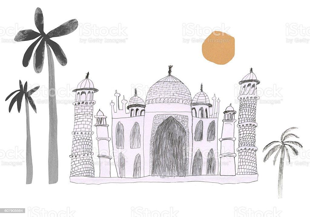 Taj Mahal drawing vector art illustration