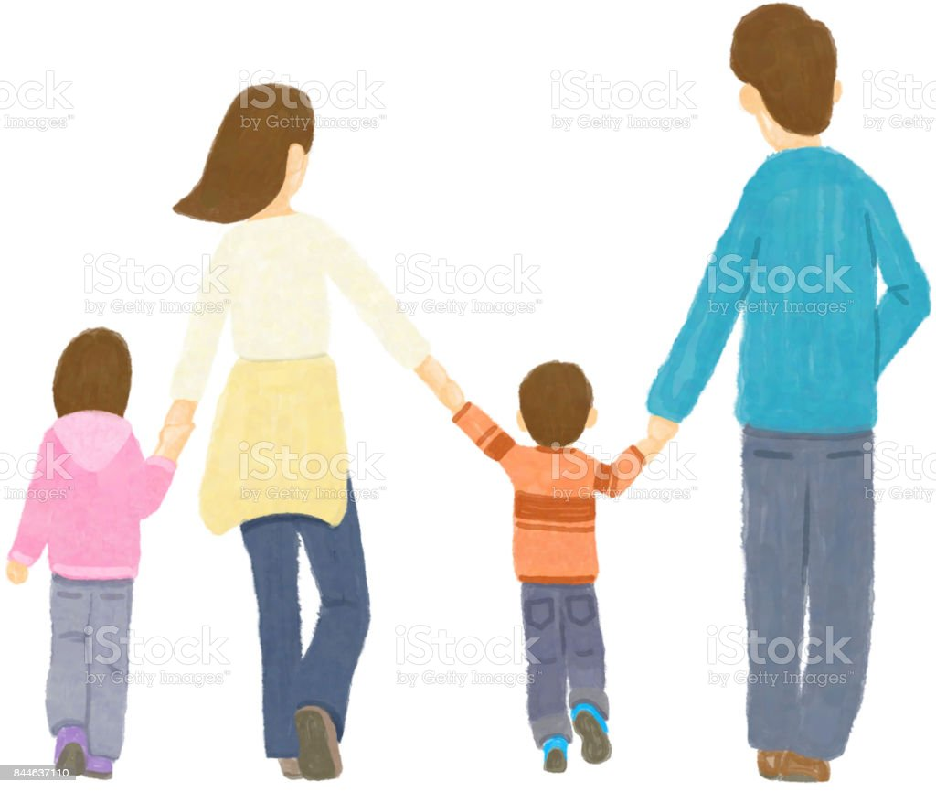 Take a walk with my family vector art illustration