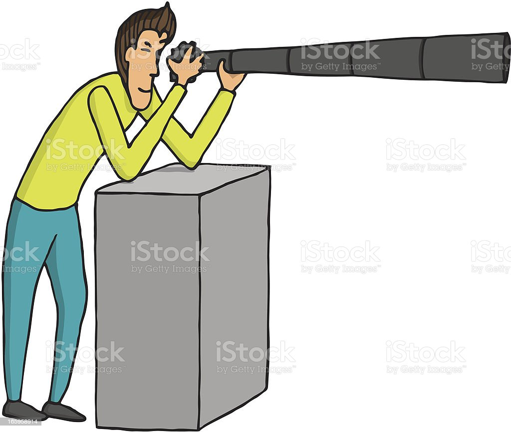 Taking a photo with huge lens royalty-free stock vector art