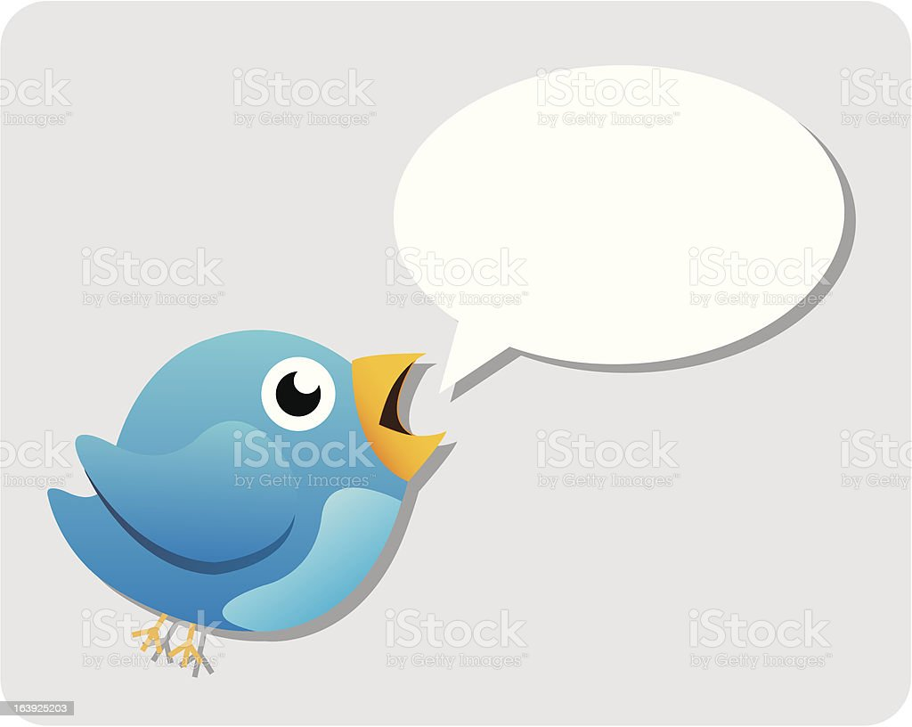 Talking Blue Bird vector art illustration