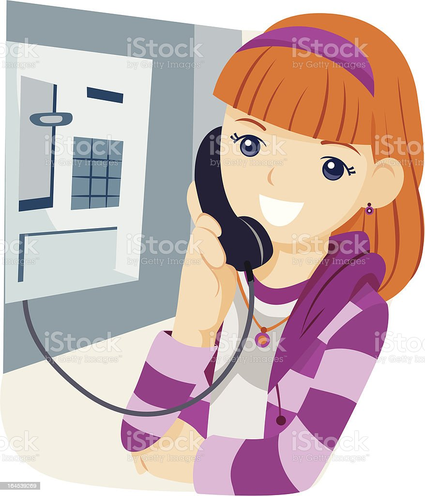 Talking on the Phone royalty-free stock vector art