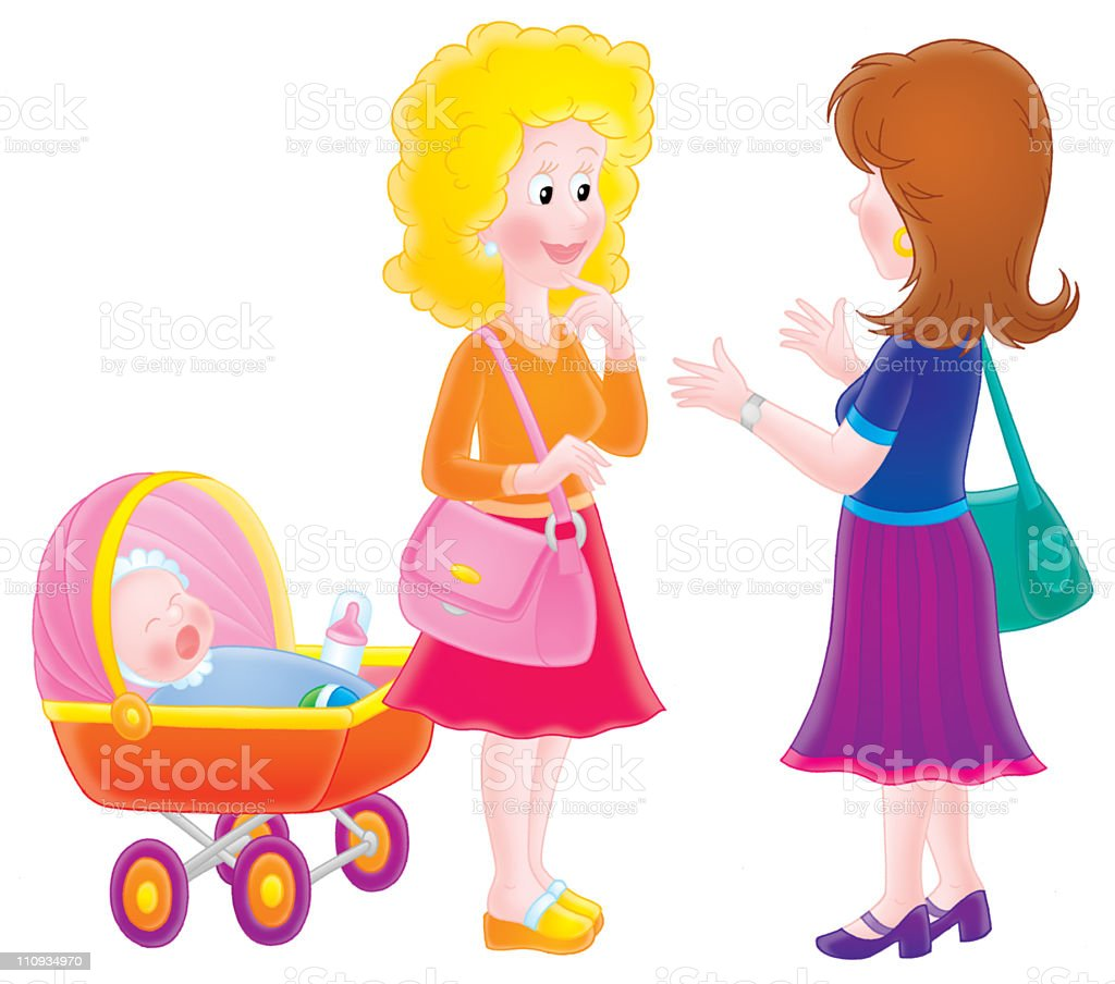 Talking women with a baby buggy vector art illustration