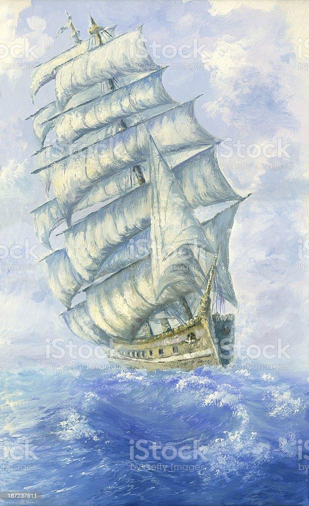Tall Sailing Ship vector art illustration