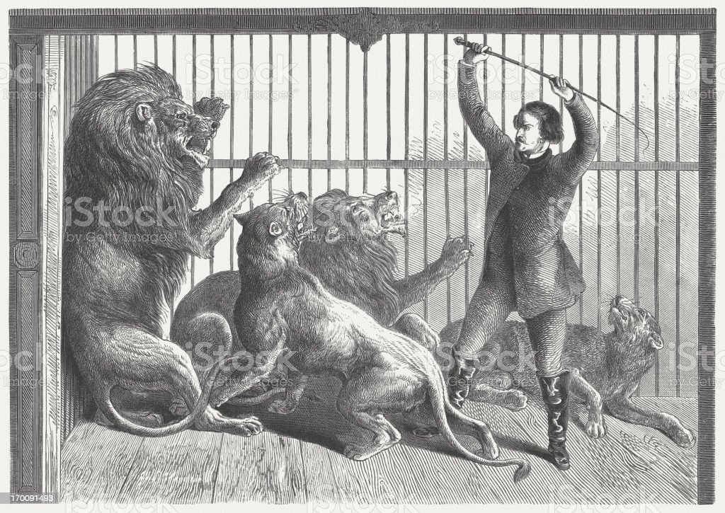 Tamer in the lion's cage, wood engraving, published in 1864 royalty-free stock vector art