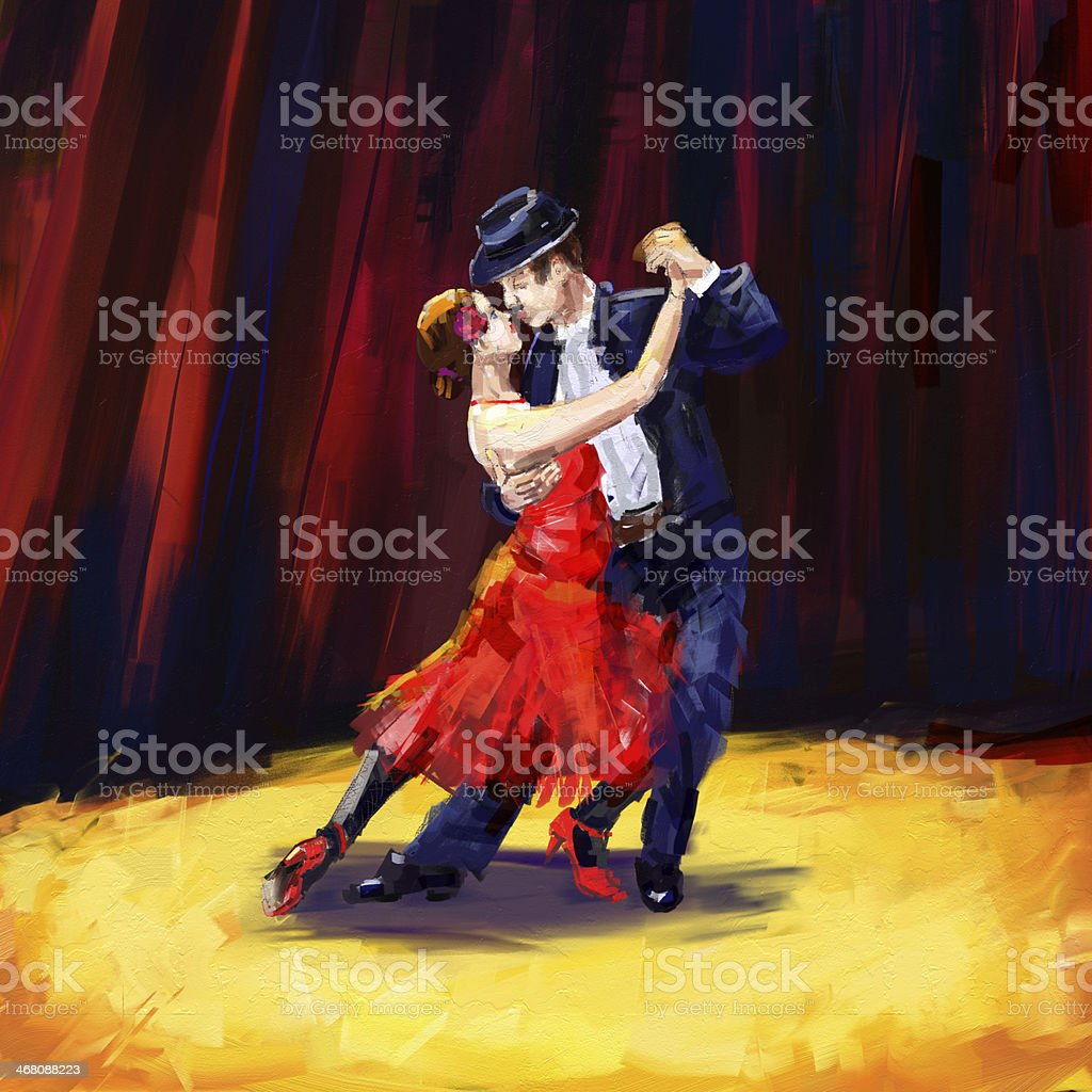 tango dancers vector art illustration