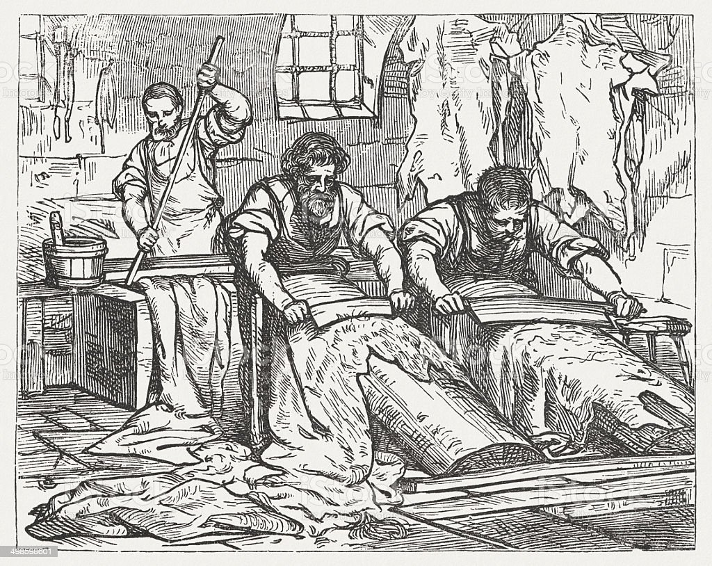 Tanners at work, wood engraving, published in 1881. vector art illustration