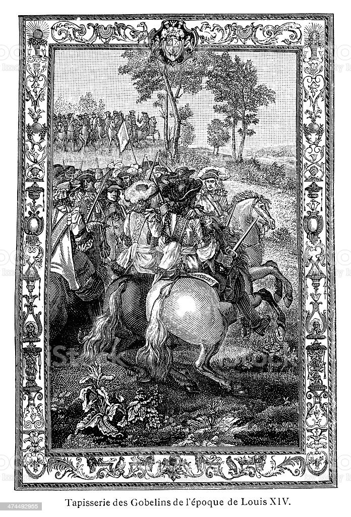 Tapestry from the Time of Louis XIV - Antique Illustration royalty-free stock vector art