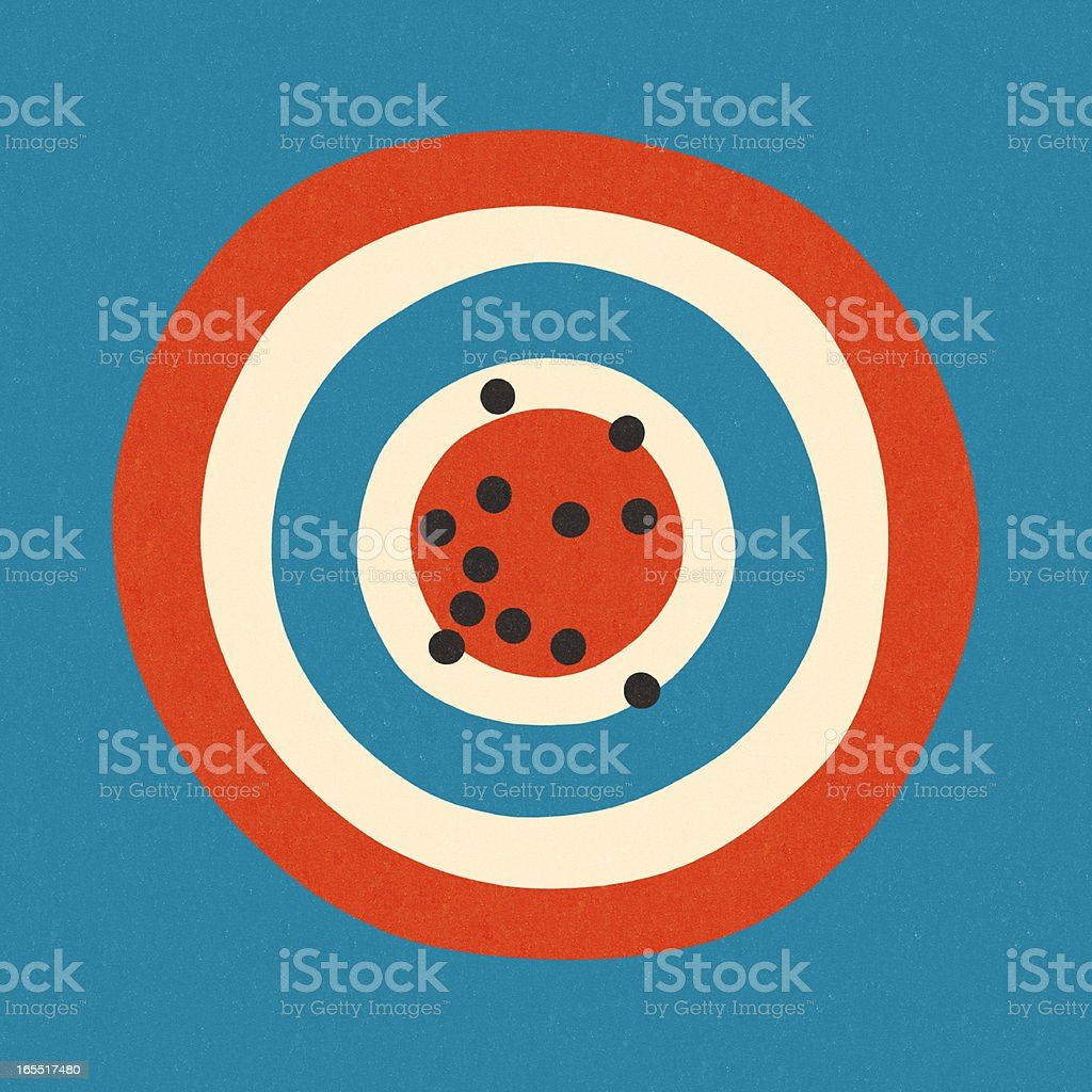 Target with Bullet Holes vector art illustration