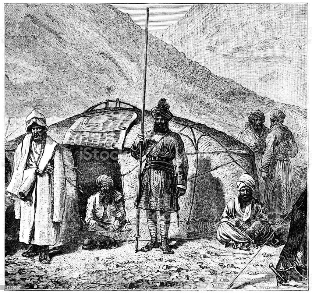 Tartars with their tent, Turkestan (1882 engraving) vector art illustration