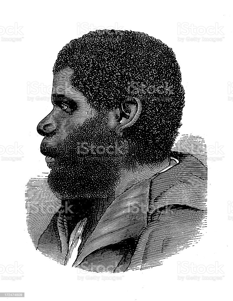 Tasmanian Aborigine (antique wood engraving) royalty-free stock vector art