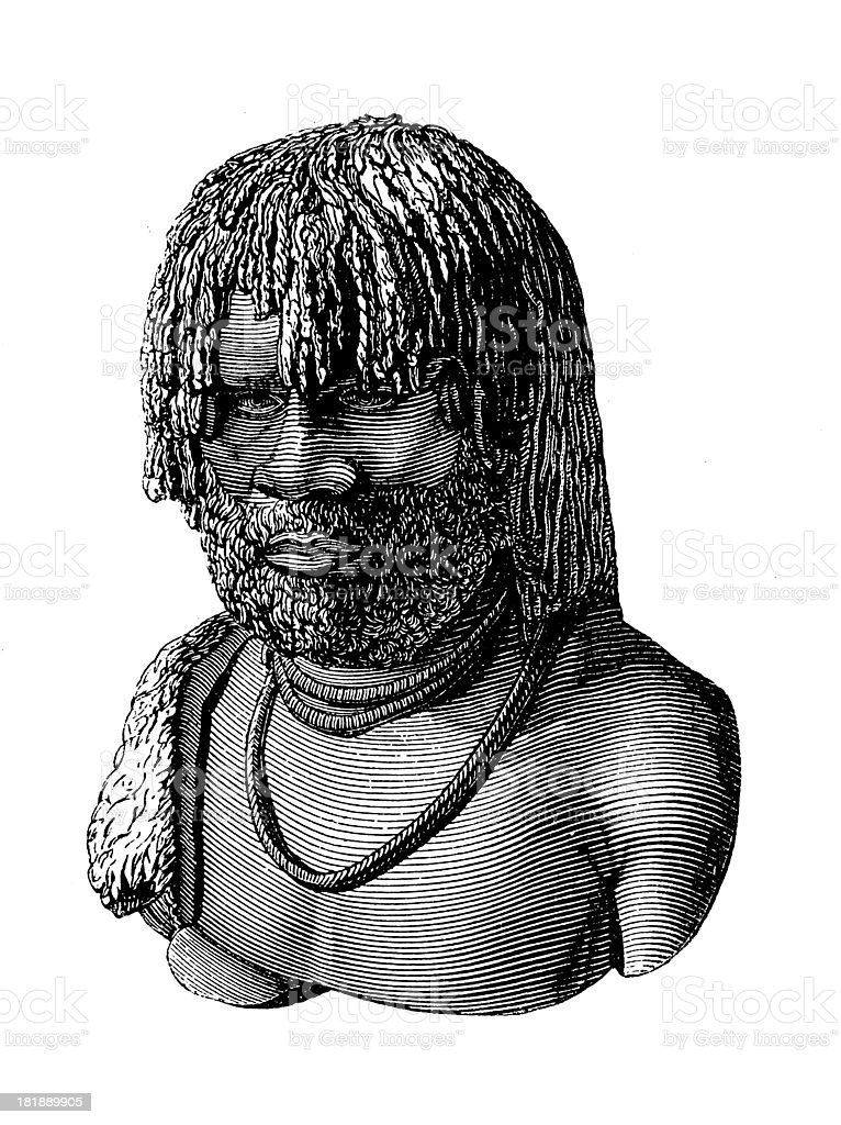 Tasmanian Aborigine (antique wood engraving) vector art illustration